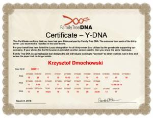 Certyfikat DNA