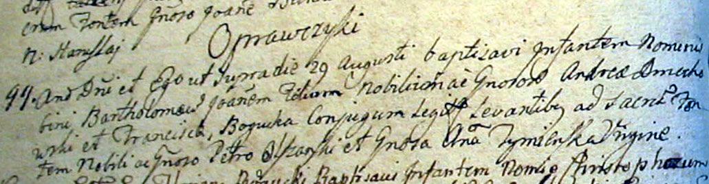 Metryka urodzenia Bartłomieja Jana Dmochowskiego - 1756 rok, parafia Czyżew, ziemia nurska, Mazowsze.