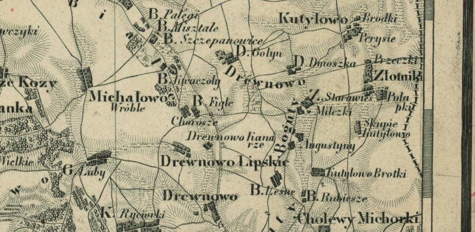 Rycina 1. Fragment Topograficznej Karty Królestwa Polskiego przedstawiający okolice wsi Drewnowo-Dmoszki (źródło: http://igrek.amzp.pl/mapindex.php?cat=KWATERMISTRZ)
