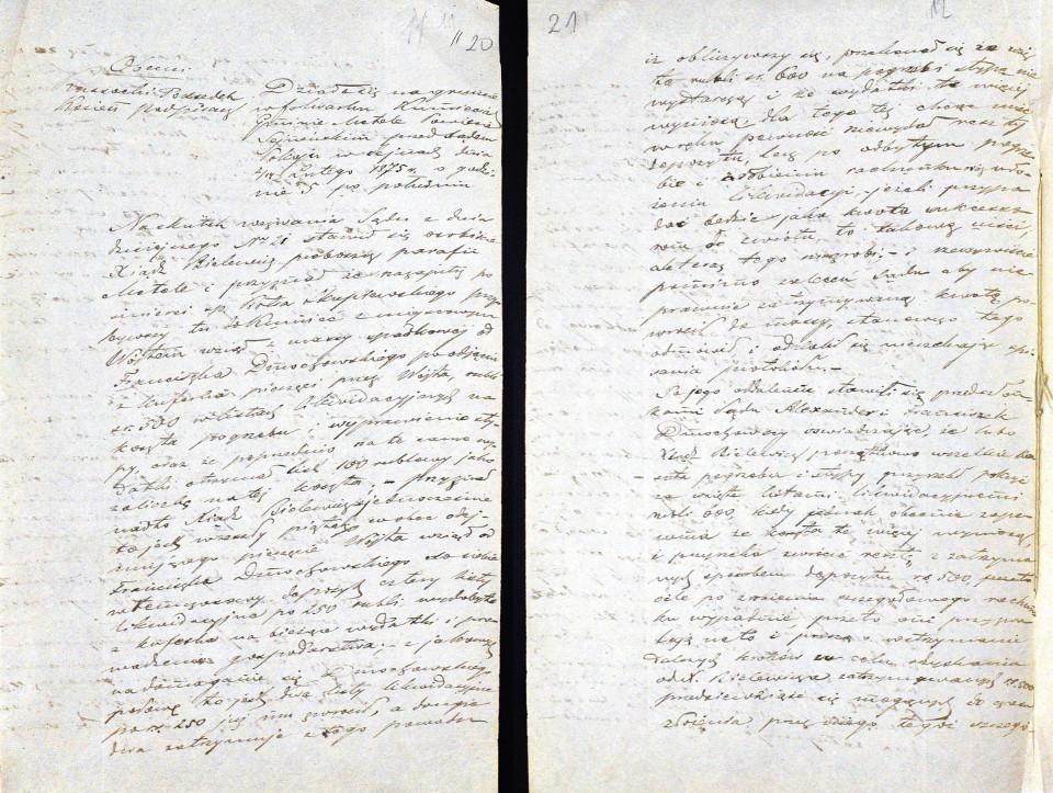 Rycina 10. Fragment zawartości Akt Sądu Pokoju w Sejnach... z 1875 roku zawierający opis przesłuchania księdza Bilewicza (źródło: Archiwum Państwowe w Suwałkach).
