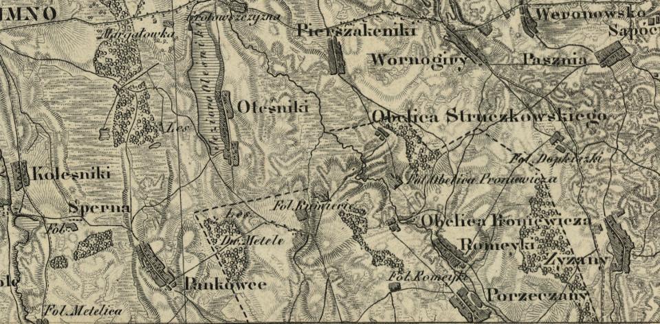 Rycina 2. Fragment Topograficznej Karty Królewstwa Polskiego przedstawiający okolice wsi Kumiecie (źródło: http://igrek.amzp.pl/mapindex.php?cat=KWATERMISTRZ)