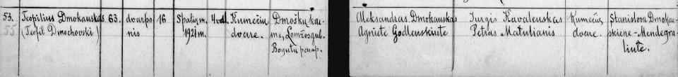 Rycina 6. Skrótowy akt zgonu Teofila Dmochowskiego (źródło: Archiwum Historyczne Państwa Litewskiego).